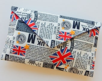 British Newspaper Print Union Flag Clutch Purse