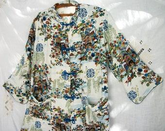 Gorgeous Japanese ~ Lounge-wear ~ Blue and White / Scenic ~ Vintage 1950's / 60's era ~ Long Shirt ~ Unisex Chic ~ Asian