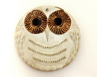 Vintage White Glazed Pottery Round Owl Wall Plaque