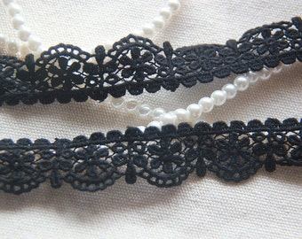 "14 yard 2cm 0.78"" wide black cotton embroidered tapes lace trim ribbon afdc free ship"