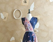 Vintage 1970s Floral Asymmetric Dress -The Coming Spring-