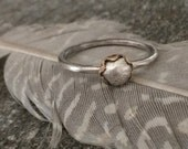 Dainty Silver & Gold Brass Ring - Minimalist Sterling Silver Pebble Stack Ring Size 6.5 - Mixed Metal Jewelry