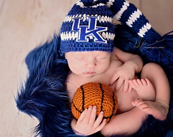 Newborn Boy Striped University of Kentucky Stocking Hat and Basketball - Made to Order