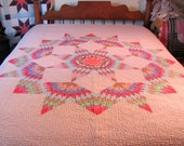 Hand Quilted Full Size Lone Star Quilt / Broken Lone Star Quilt Full Size / Texas Lone Star Quilt