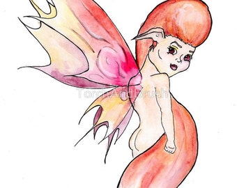 Fox Fairy - OOAK Watercolor Painting