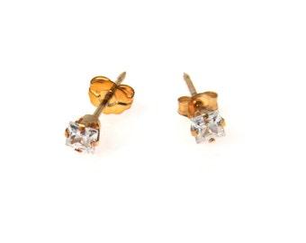 Princess Cut CZ Solitaire Gold Earrings Vintage