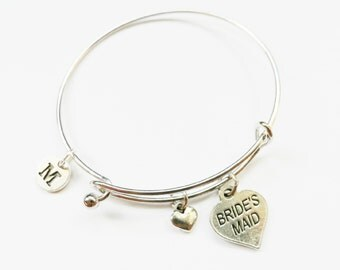Bride's Maid Gift Charm Bangle, Bride's Maid Silver Charm Bracelet, Wedding Jewelry, Personalized, Initial, Bride's Maid Gift
