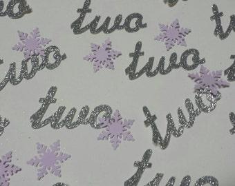 Winter wonderland script age confetti 2nd 1st birthday party number confetti  wonderland