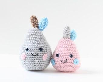 Sweet crochet amigurumi pear softie in pink or grey.