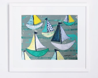Teal and Yellow Blue Sailboats - Whimsical, Modern Canvas Art Print