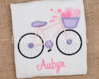 Valentine Hearts Bicycle Applique Shirt or Bodysuit Valentine Bike Shirt