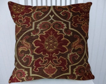 Brown Red Chenille Pillow Cover 18x18 or 20x20 or 22x22- Accent Pillow Cover,Throw Pillow Cover