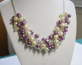 Bridesmaid Necklace, Yellow and Purple Wisteria Pearl Cluster Necklace, Chunky Wedding Jewelry, Purple and Yellow Wedding Necklace, Spring