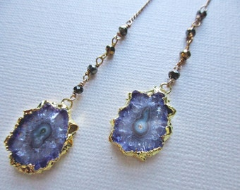 amethyst druzy earrings - shoulder duster earrings -  amethyst geode earrings - stalactite jewelry
