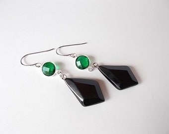Emerald Earrings, Black Agate Jewelry, Gift for Her, May Birthstone Earrings, Gemstone Jewelry
