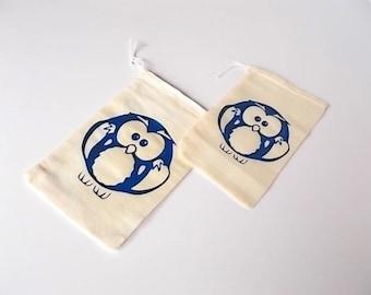 Baby Owl Favor Bags, Gender Reveal Baby Shower, Woodland Animal Birthday Favor Bags, Set of 12 Muslin Bags