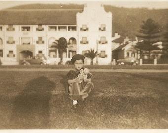Vintage Photo - Little Girl Holding Doll - Shadow - Sailor Hat - Vintage Snapshot - Sepia - Paper Ephemera