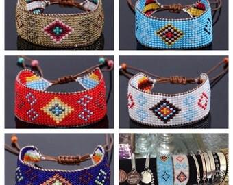 Handmade 13 rows Glass Beaded Bracelet - Rope String