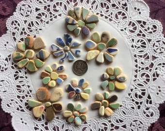 FREE SHIPPING 86 Pottery Shards, yellow, blue, aqua Genuine Sea Glass PS-S23-88