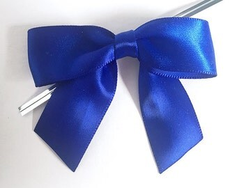 12 ROYAL BLUE Pre-made Bow Embellishments
