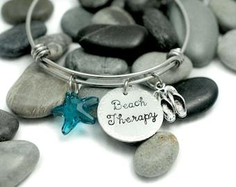 Beach Therapy Bangle Bracelet - Expandable Wire Bangle - Swarovski Crystal - Starfish - Beach Jewelry - Personalized Jewelry - Charm Jewelry