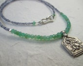Hanuman necklace with antique Indian silver iolite and green chrysoprase