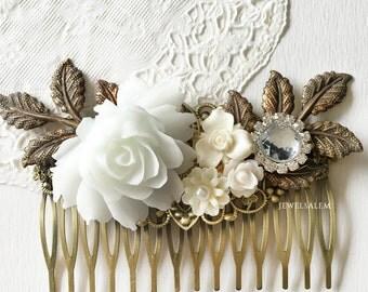 Bridal Wedding Headpiece Romantic Elegant White Silver Rhinestone Hair Adornment Vintage Style Flower Headpiece Bridesmaids Comb Gift