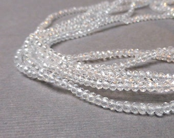 Sparkly Clear Glass Rondelles. Faceted Crystal Rondelles. Clear. 1.5mm-2mm. Full Strand. One (1).