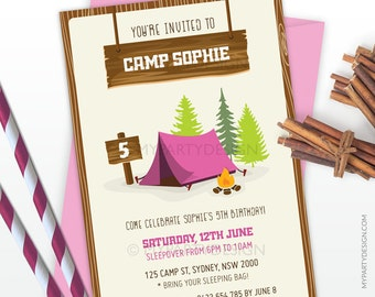 Camping Party Invitation - Girl Birthday Party - Glamping - Sleepover - Camp Out Party - Pink - PRINTABLE JPEG or PDF file