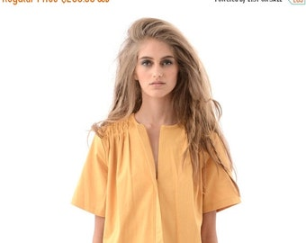 Fun and Flirty Womens Shirt Dress in Unique Mustard Yellow, Chic Oversized Dress for Fall or Winter, Short Sleeve Fashion Dress with Pockets