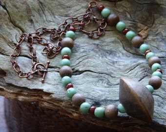 Wood, Turquoise & Copper Statement Necklace