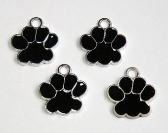 10 Paw enamel charms in black & silver finish dog paw cat paw 18x17mm DB09828
