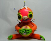 Doug the Donut stealer. Sloth Voodoo Doll. Hand Sculpted Polymer Clay Figurine