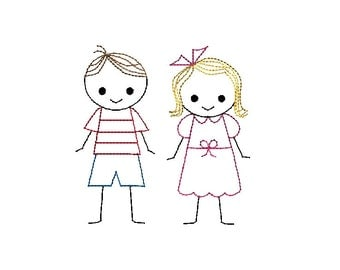 Boy and Girl Stick Figures Machine Embroidery Designs-INSTANT DOWNLOAD