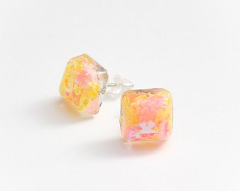 Spring Pastel square stud earrings - pink and yellow earrings, pastel pink jewelry, kawaii jewellery, cute studs, summer, spring, glitter