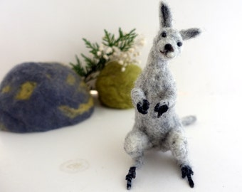 Needle felted animal felted grey kangaroo australian woodland posable unique gift