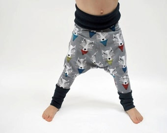 SAVE 15% - Boys harem wolf trousers organic cotton grey wolves leggings  navy blue baby funky print childrens stretch knit stretchy pants