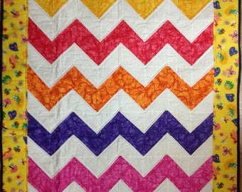 Bright Chevron Baby Quilt