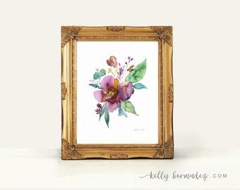 Mauve Floral , botanical print, watercolor botanical, watercolor flowers, cottage chic, floral watercolor