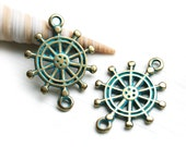 Brass Sailor Wheel Charm Connector, Rudder, Patinated Brass Metal Casting Ship Wheel Bead, Green Patina, Nautical - 2pc - F464