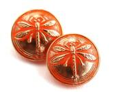 18mm Golden Dragonfly Orange Czech Glass Button, Gold Wash, Handmade Button bead, size 8, 1pc - 0550