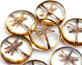 4pc Dragonfly beads, Clear picasso czech glass beads, table cut, round, tablet shape - 17mm - 2541