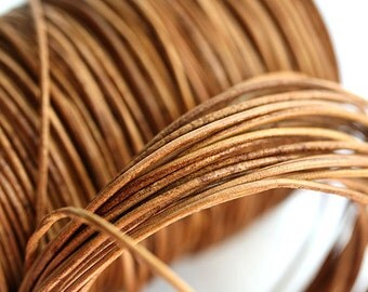 1mm Round Natural Leather cord - Dark Natural Tan - 10 feet, LC068