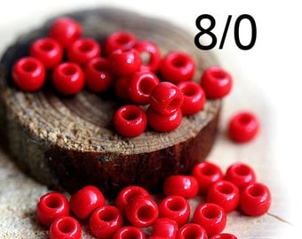 TOHO Seed beads, size 8/0, Opaque Pepper Red, N 45, round, red japanese beads - 10g - S885