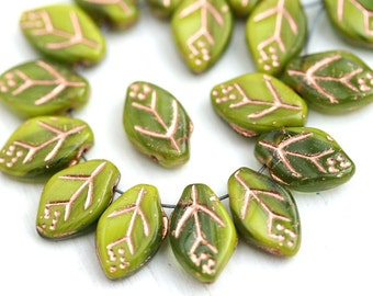 12x7mm Mixed Green Leaf beads, Golden Inlays, Light green Czech glass pressed leaves, top drilled - 25Pc - 2513