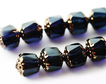 8mm Dark Blue beads, Cathedral czech glass beads with golden ends, round fire polished - 15Pc - 2417