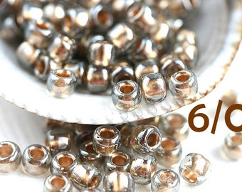 TOHO Seed beads, Grey and Gold, size 6/0, Gold Lined Black Diamond, N 993, japanese seed beads - 10g - S624