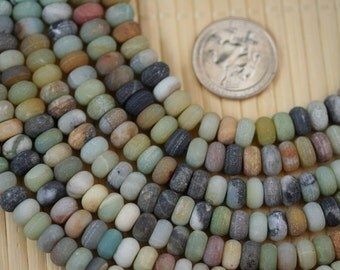 """Natural Amazonite Multiple Color 5X8mm Matte finished Rondelle Beads Strand G52215, 15.5"""" Strand"""
