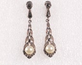 ON HOLD Vintage Art Deco Silver Pendant Earrings Chubby Faux Pearl Marcassite Clip On Stamped 1920s French Jewelry