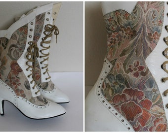 Vintage white leather boots tapestry lace up tall boots victorian prairie shoes Size 6